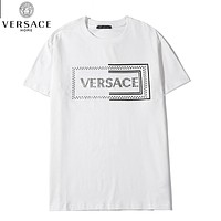 VERSACE New Women Men Casual Diamond Letter Short Sleeve T-Shirt Top