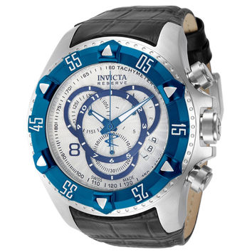 Invicta 11019 Men's Reserve Excursion Blue Bezel Textured Blue Accents Silver Dial Chronograph Leather Strap Dive Watch