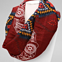 Sugar Skulls Aztec Infinity Scarf Day of the Dead Wrap - Burgundy