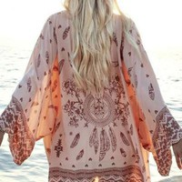 Casual Kimono boho blouses tribal print Beach Cover Up Tunic Chiffon Geometry Print