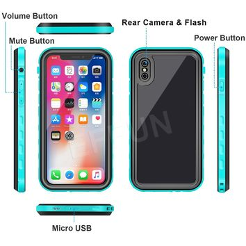 iPhone X Waterproof Case, EFFUN Wireless Charging Support IP68 Certified Waterproof Shockproof Case with Cell Phone Holder, PH Test Paper, Stylus Pen and Floating Strap White/Pink/Aqua Blue
