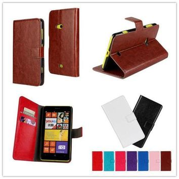 ONETOW For Nokia Lumia 625 N625 Case High Quality Fashion Design Holster Flip Crazy-Horse PU Leather Cases Cover D431-A