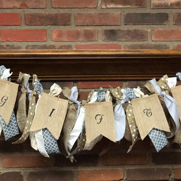 Baby Shower Ribbon Garland Woodland Theme Baby Decor Grey Burlap Ribbon Banner Cream Brown Ribbon Banner Baby Shower Decor Baby Boy Nursery