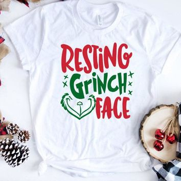 Resting Grinch Face Christmas T-Shirt Women Funny Christmas Out b2c630987