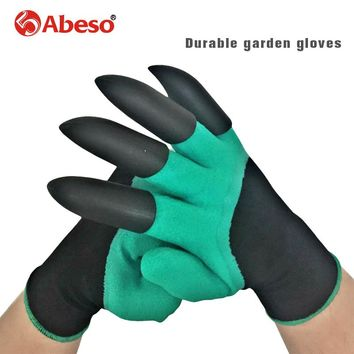 latex garden gloves with 4 ABS Plastic Claws for garden Digging Planting working protective 1 pair