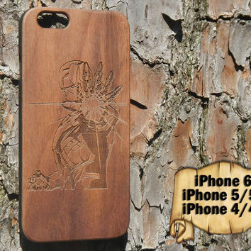 Ironman, Engraved iPhone 6 5/5s 4/4s Wood Case, Made from Genuine Walnut or Cherry