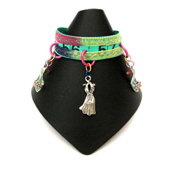 Tape Measure Ribbon Charm Bracelet green, blue, and pink with shoe and dress charms