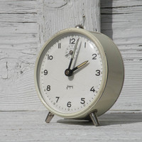 Small cream white Japy clock, Japy alarm clock, white alarm clock, cream alarm clock, shabby chic clock, vintage alarm clock, French clock