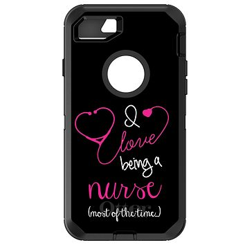 DistinctInk™ OtterBox Defender Series Case for Apple iPhone or Samsung Galaxy - I Love Being A Nurse Most of the Time