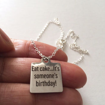 Cake Necklace, Silver Charm Necklace, Stainless Steel  Necklace, Food Jewelry