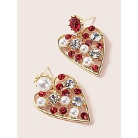 1pair Faux Pearl & Gemstone Engraved Heart Drop Earrings