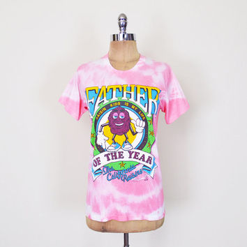 California Raisin T-Shirt Tshirt Father Of The Year Father's Day Dad Funny T-Shirt Pink Tie-Dye T-shirt 80s T-Shirt Mens Xs Extra Small S