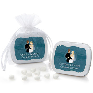 Custom Wedding Couples Teal - Personalized Bridal Shower Mint Tin Favors