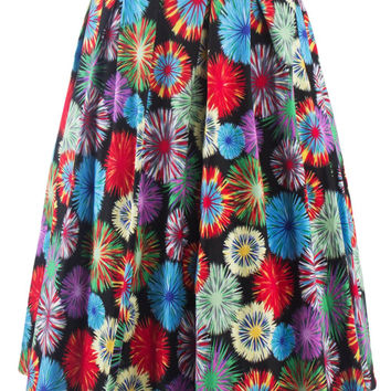 Vintage Flower Fireworks Print High Waisted Pleated Long Skirt