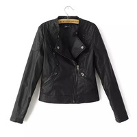 Black Round Collar Faux Leather Jacket With Zipper
