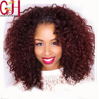 Top Quality Two Tone #1b/Burgundy Brazilian Virgin Human Hair Glueless Lace Front Wig Ombre Curly Lace Wig For Black Women