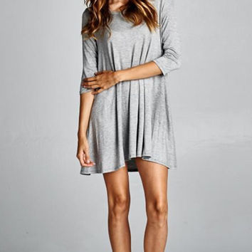 Go The Distance 3/4 Sleeve Shirt Dress in Grey