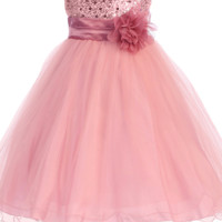 Rose Pink Sequin Party Dress with Lettuce Hem Tulle Skirt Baby Girls 3M-24M