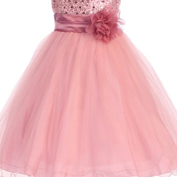 Dusty Rose Sequins, Satin & Layered Mesh Overlay Formal Occasion Dress w 2 Ruffle Hems (Baby Girls)