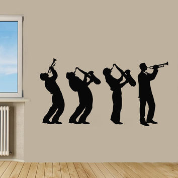 Musician Wall Decals Music Group Interior Design Boys Playing Saxophone Living Room Wall Decor Vinyl Sticker Home Decor Wall Art Decor KG460