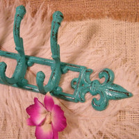Wall Hook- Bright Turquoise Green Coat Rack -Shabby- Holder-Jewelry Organizer-Fleur De Lis -Paris Apartment Chic-French Country Decor
