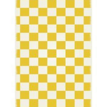 English Checker Design  Size Rug: 4ft x 6ft  yellow & white colors