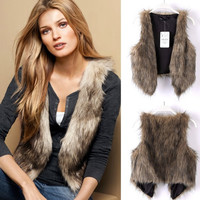 Women Sleeveless Faux Fur Shaggy Vest Coat Short Hair Jacket Waistcoat Outerwear sc = 1929771588