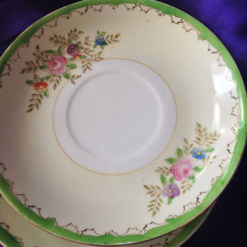 Japan Saucers, Hand Painted Pale Yellow, Mint Green Border, Purple, Pink, Blue Floral, Shabby Cottage Decor, Set of Four