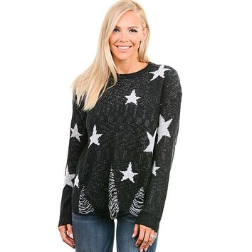 Black Star Distressed Sweater
