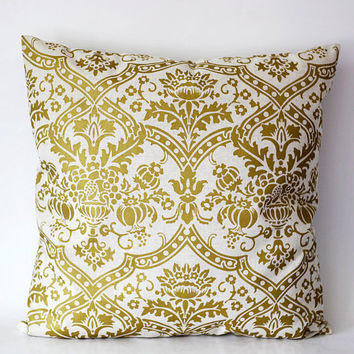 ON SALE Pillow cover solid gold damask print on by pillowlink
