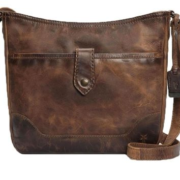 Frye Melissa Button Crossbody Handbag Cognac
