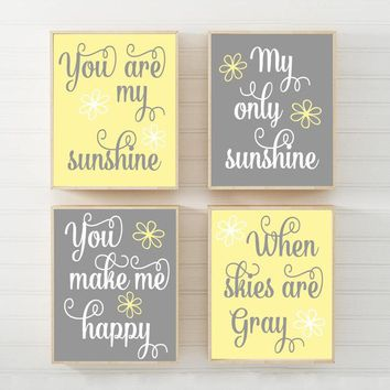 Yellow Gray You Are My SUNSHINE Wall Art, CANVAS or Print Yellow Gray Baby Girl NURSERY Decor, Girl My Sunshine Nursery Quote Decor Set of 4