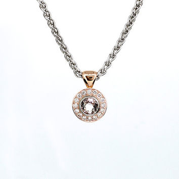 Morganite and diamond halo pendant made from rose and white gold, peach morganite, morganite necklace, unique, pink jewelry, rose gold