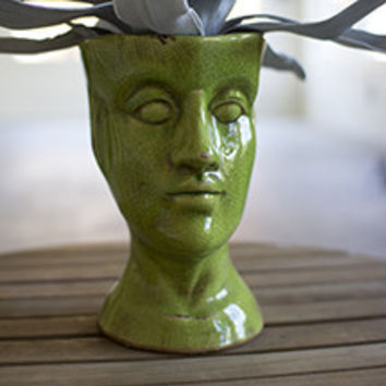 Ceramic Head Planter - Green