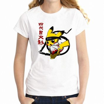 Women's T Shirt  Pikachu Attack on Titan Funny Crossover Gamer Nerdy Girl's TeeKawaii Pokemon go  AT_89_9