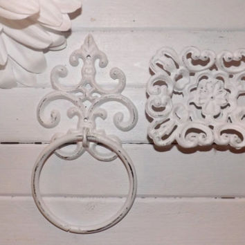 Shabby Chic Bathroom Towel Ring and Soap Dish Combo/ Fleur de lis/ Ornate Bathroom Decor / Shabby Chic Decor