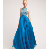 2014 Prom Dresses - Ocean Satin & Chiffon Beaded Gown