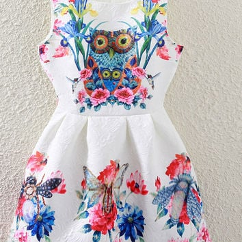 Daffodil & Owl Print Crew Neck Sleeveless Skater Dress