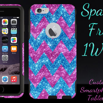 "OtterBox Commuter Series Case for 4.7"" iPhone 6 - Custom Glitter Case for 4.7"" iPhone 6 - Peacock Large Chevron Raspberry/Black"