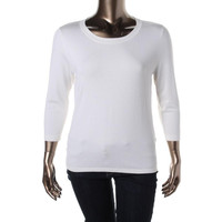 August Silk Womens Knit Elbow Sleeves Pullover Sweater