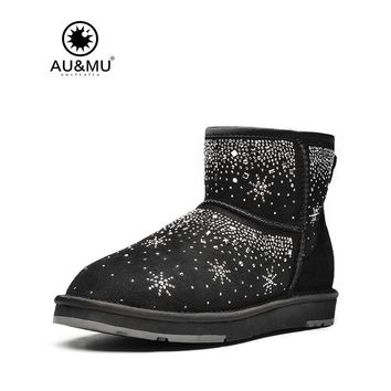 2017 AUMU Australia Brand New Top Fashion Suede Fur Snowflakes Printing Slip-on Round Toe Snow Winter Boots UG N036
