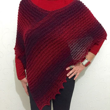 Red wool poncho, red and burgundy poncho sweater, knit shawl, knitted wool wrap, red boho top, wool poncho cape