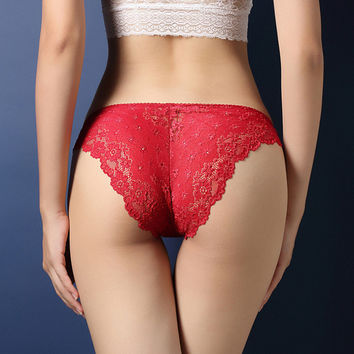 Sexy Lacey Red V-Back Panty