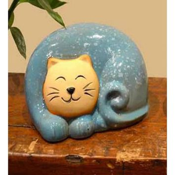Chinese Red Ceramic Smiling Kitty Cat Statue