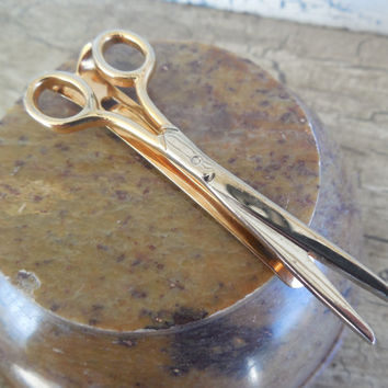 "Swank Scissors Tie Bar 2 1/2"", Swank Tie Clip in Scissor Design, Vintage Gold Tone Tie Accessory"