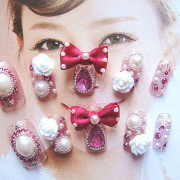 kawaii wedding bridal gyaru deco nails with 3D rose and bow knot for you