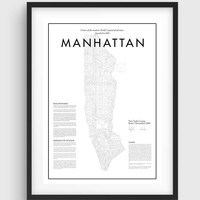 Minimal Manhattan Map Poster, Black & White Minimal Print Poster, Art, Home Art, Minimal Graphics, New York Poster, Map Home Decor