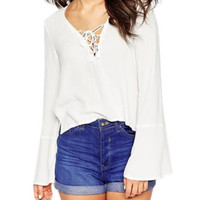 White Bell Sleeve Chiffon Top with Side Slit