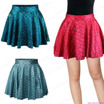 Red Mermaid Scales Mini Skirts Sexy Ladies Blue Punk Sexy Pleated Short Skirts Leisure Sports Tennis Kilts Femininas Saias Green