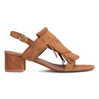 Suede sandals with fringes - from H&M